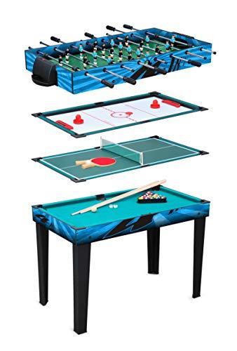 small foot 11279 Multifunktionstisch 4 in 1 aus Holz, Billard, Tischtennis, Airhockey oder Tischkicker Spielzeug, Mehrfarbig