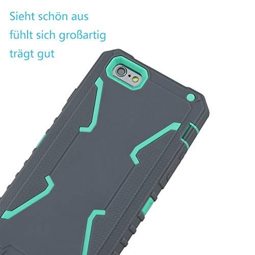 "iPhone 6s Coque, Allbuymall iPhone 6/6s Case Coque Housse Bumper Cover Armure Robuste Ultimate protection et design robuste avec Premium Housse pour Apple iPhone 6 6s 4.7""-Gris+Turquoise Gris+Turquoise"