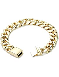 c03d8760b7c4 Pulsera de cadena de eslabones cubanos de oro para hombres