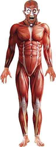Smiffys, Herren Anatomy Man Kostüm, Bodysuit und Maske, Größe: L, (Red Man Kostüme)