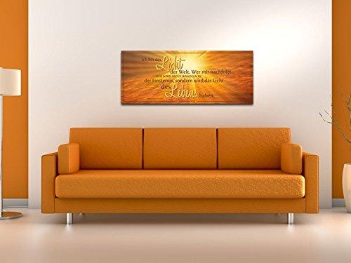 Dalinda® XXL-Wandbild Bibelspruch Bibel Leinwand Leinwandbild mit Spruch Licht des Lebens… 100x40cm Keilrahmenbild Kunstdruck Wandbild Panorama Leinwandbild LS130