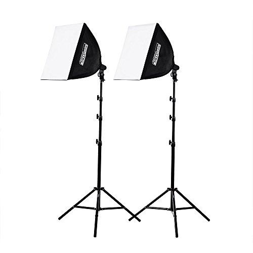 Fovitec - Softboxbeleuchtungsset für Dauerbeleuchtung (1050 Watt) Bei Video- Und Fotostudioaufnahmen - 2 Quadratische, Selbstaufklappende Softboxleuchten (50,8 cm) -