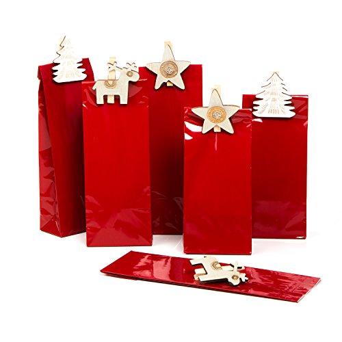 Set: 12pezzi natalizi rosso piccolo (7x 4x 20,5cm) + 12mollette in legno bianco beige shabby renna stella alce albero–sacchetti di carta lebensmittel della vera per cioccolatini biscotti dolci di natale