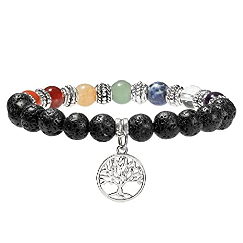 JSDDE 7 Chakra Healing Crystal Gemstone Ball Beads Tree of Life Lava Rock Stone Stretch Bracelet(8mm