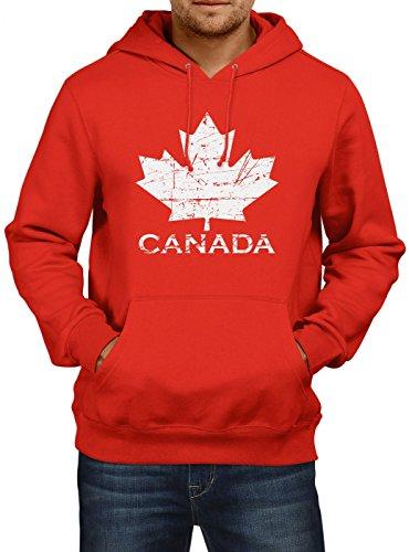 Shirt Happenz Canada Vintage Premiumhoodie   Kanada  Herren   Ahornblatt   Maple Leaf Flag   Vancouver   Kapuzenpullover, Farbe:Rot;Größe:L (Eishockey-kanada-bekleidung)