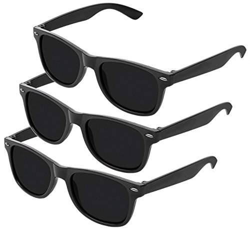 Nerd Sonnenbrille im Wayfarer Stil Retro Vintage Unisex Brille - Boolavard® TM (3 Paare Schwarz Tönung)