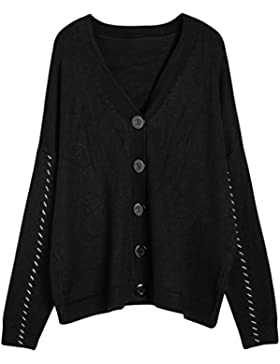 Vogueearth Fashion Mujer's Largo Manga Button Down Knit Jersey Sudaderas Suéter Cardigan
