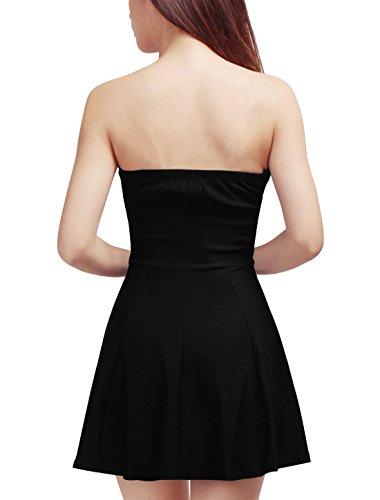 Sourcingmap - Robe Trapèze Style Décolleté En Cœur - Fermeture Eclair A L'avant - Sans Manche Black