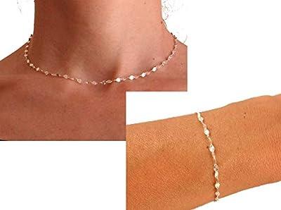 Parure collier et bracelet - Argent - Chaine fantaisie - Collier ras de cou - Bracelet fin - Bijoux femme tendance