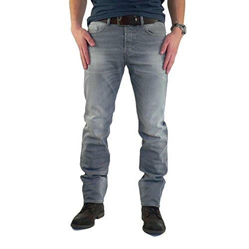 Diesel BUSTER 0839N 839N, Jeans Uomo Regular Slim Straight Cut Grigio Grau W31/L30