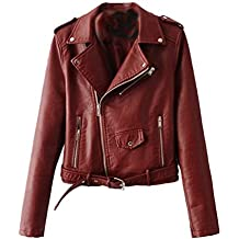 new style 3a9ee 2089e giacca pelle donna - Rosso - Amazon.it