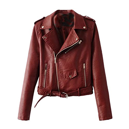 *Baymate Damen Kunstleder Motorrad Lederjacke Zipper Kunstlederjacke Bikerjacke Oberteile Mantel*