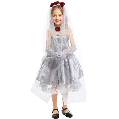 GLXQIJ 5-11 Jahre Kinder Mädchen Halloween Kostüm Party Friedhof Braut Zombie Kostüm Kit,Gray,S