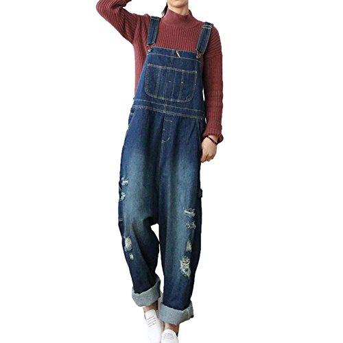 WTUS Frauen Denim Blue Jeans Gerades Bein Taschen Latzhose