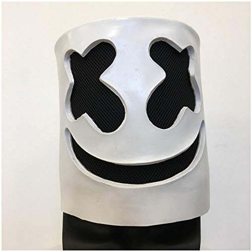 Monster Kostüm Marshmallow - IGZAKER Marshmallow DJ Helm Vollgesichts Cosplay Halloween Karneval Requisiten Latex Masken Helm Kopfbedeckungen Zubehör Bar Party Requisiten
