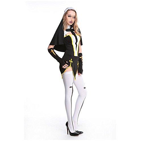 Moojm Frauen Halloween-Spiel Rollenspiel Cosplay Uniform Cross Katholischen Nonnen Outfit Fantasie Für Halloween-Party-Kostüm