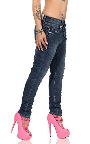 Fashion4Young 11407 Damen Jeans Röhrenjeans Hose Boyfriend Baggy Haremscut Damenjeans (Dunkelblau-6, XS-34) -