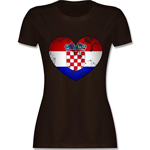 Fußball-Weltmeisterschaft 2018 - Kroatien Vintage Herz - XXL - Braun - L191 - Damen T-Shirt Rundhals