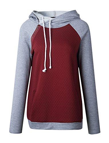 Hibluco Damen Mode Blumenmuster Hoodies Langarm Kapuzenpullover Sweatshirt Pullover K2
