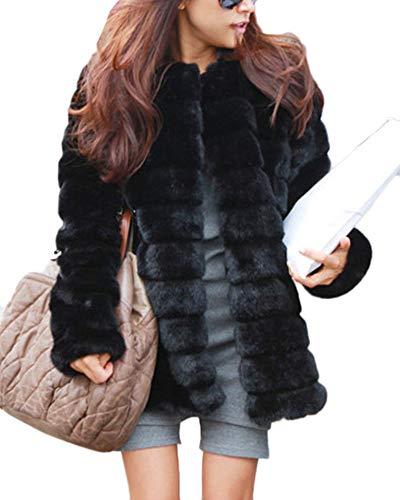 Guiran donna cappotto in pelliccia sintetica senza collo elegante giubbotti maniche lunghe di finto pelo caldo nero s