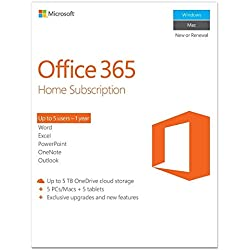 Microsoft Office 365 Home- 5 PC or 5 Mac laptops + 5 Tablets, 1 Year (Activation Key Card)