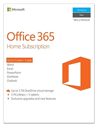 Microsoft Office 365 Home Subscription 5 PCs/Macs + 5 Tablet Premium Services (Voucher)(Up to 5 users – 1 Year)