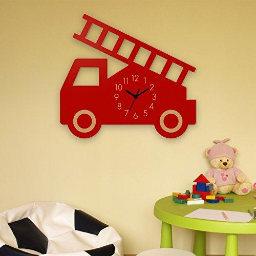 feuerwehr wanduhr Yourlivingart Wanduhr Feuerwehr-Rot, Kinderuhr, Uhr für Kinderzimmer