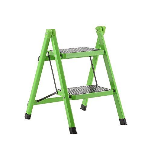 ChangDe CHD - Teleskopleiterhoher Stuhl Wohnzimmer Kleine Klapptreppe Leiter Für Erwachsene Eisen Küche Klapptreppe Trittbrett Mit rutschfeste Treter Hochhocker (Color : Green, Size : 3 Tiers) - Stahl-trittbrett