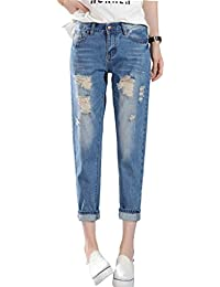 PHOENISING - Jeans - Boyfriend - Uni - Manches Longues - Femme bleu bleu