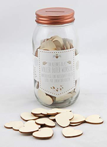 Idealtrend Gute Wünsche Glas mit Herzen Gästebuch Deko Hochzeit Gastgeschenk Wunschglas