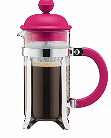 Bodum - French Press Coffee Maker with Plastic Lid - Unboxed - Pink - 3 cup/0.35l/12oz