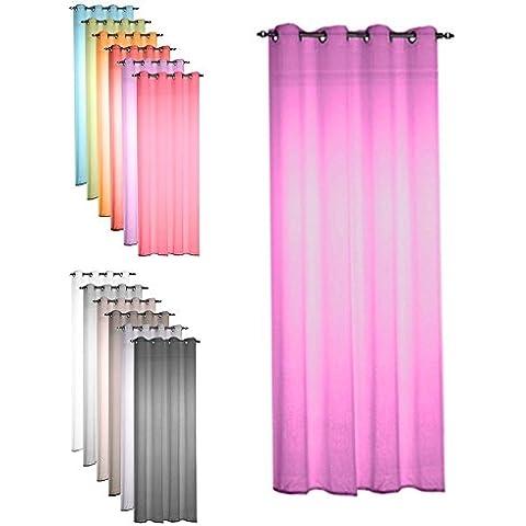 Pregiata tenda voile con occhielli - 135x240 cm - tenda velo trasparente - vasto assortimento colori - fucsia
