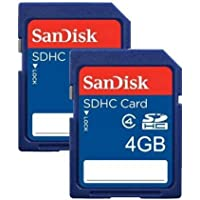 SanDisk SDSDB2-004G-B35 4 GB Class 4 SDHC Memory Card - Blue, Pack of 2