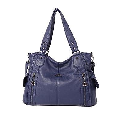 Angelkiss 2 Top Zippers Multi Pockets Femmes Sacs à main / Bourses en cuir lavé / Sacs à bandoulière 1193