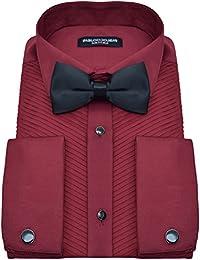 PABLO CASSINI Smokinghemd Slim Fit Bordeaux Rot Plissee Biesenfalten mit Manschettenknöpfe und Qualitäts Fliege