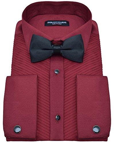 PABLO CASSINI Smokinghemd Plissee Biesenfalten Bordeaux Rot mit Manschettenknöpfe und Qualitäts Fliege (L - Kragenweite: 41/42)