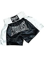 Everlast EM6 - Pantalón de thai boxing unisex, color negro / blanco, talla L