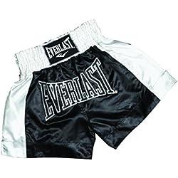 Everlast EM6 - Pantalón de thai boxing unisex, color negro/blanco, talla L