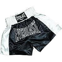 Everlast EM6 - Pantalón de thai boxing unisex, color negro / blanco, talla S