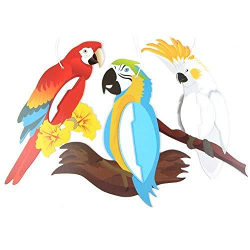 Snow Island Schneeinsel 3 auffallende Papageien zum Aufhängen, Dekoration für Kindergeburtstage, Babyzimmer, Klassenzimmer für Strand, Pool, Tropische Partys
