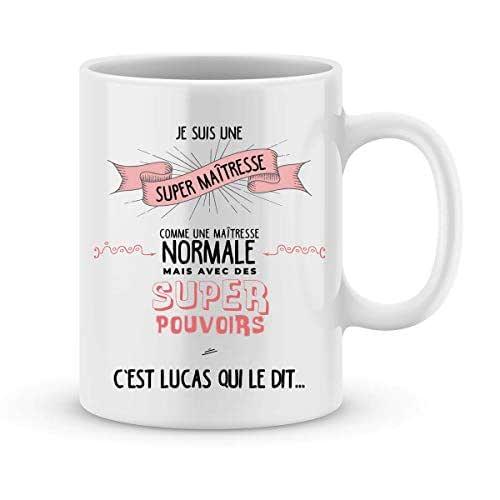 Cadeau maîtresse à personnaliser avec le prénom de votre enfant - Mug pour maîtresse personnalisé - cadeau maîtresse pour la fin d'année scolaire