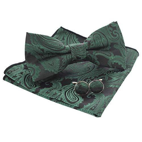 JEMYGINS Paisley Grün Fliege und Einstecktuch mit Manschettenknöpfe Sets für Herren (9) -