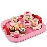 Buyger 18 Stück Holz Tee Set Tablett Teeservice Küche Spielzeug Mädchen Rollenspiele für Kinder...