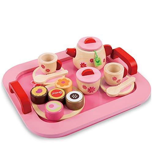 Buyger 18 Stück Holz Tee Set Tablett Teeservice Küche Spielzeug Mädchen Rollenspiele für Kinder Rosa