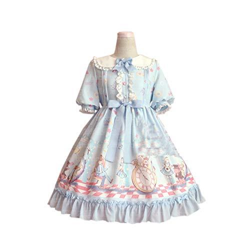 QAQBDBCKL Alice Süße Lolita Palast Prinzessin Süße Niedliche Halbe Hülse Puppenkragen Spitze Niedlichen Druck Lolita Kleider Cosma ()