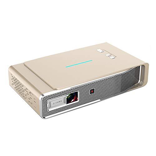 3D-DLP-Projektor, 3800 Lumen Mini-Android-Projektor mit HDMI-Kabel für Heimvideoprojektor, Unterstützung 1080P HD, Firestick, Dolby Sound, integrierte Dual-Lautsprecher, WLAN und Bluetooth,Gold 1080p Gold Kabel