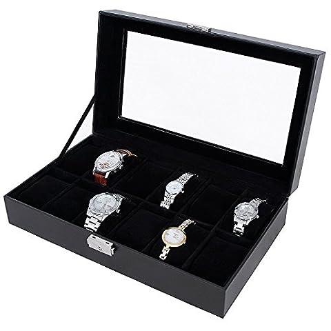Songmics Uhrenbox Uhrenkoffer Uhrenkasten Kunstleder für 12 Uhren JWB12B