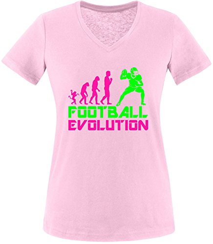 EZYshirt® Football Evolution Damen V-Neck T-Shirt Rosa/Pink/Neongr
