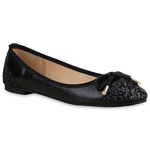 Klassische Damen Ballerinas | Flats Slipper Flache Schuhe | Übergrößen | Spitze Metallic Glitzer Schwarz Glitzer
