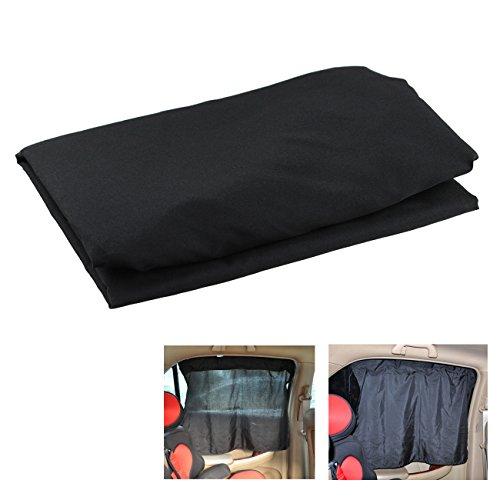 Preisvergleich Produktbild Tera® 2 x schwarze Auto-Seitenscheibe-Vorhänge Schade Sonnenschutz mit Saugnapf ca. 70 x 53 cm
